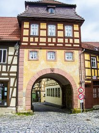 image of regnitz  - city gate of the old town of Bamberg - JPG