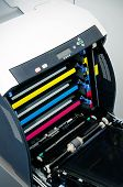 picture of dtp  - Color laser printer toners cartridges top view - JPG