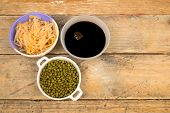 picture of bean sprouts  - Soy beans sprouts and sauce Asian cuisine ingredients - JPG