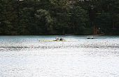 Competition Between Boats With Two Rowers.