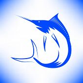 stock photo of spearfishing  - Marlin Fish Icon Isolated on Blue Background - JPG