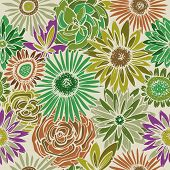 stock photo of gerbera daisy  - Floral seamless pattern - JPG