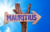 pic of mauritius  - Mauritius wooden sign with sky background - JPG