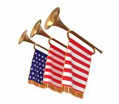 stock photo of trumpets  - Three trumpets with a flags banners isolated on white - JPG