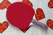 picture of decoupage  - Table tennis racket on a decoupage table  - JPG