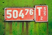 picture of railroad-sign  - Old sign with engine parameters of a narrow - JPG