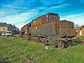 image of locomotive  - Large old steam locomotive which for years waiting for repair and Museum. ** Note: Visible grain at 100%, best at smaller sizes - JPG