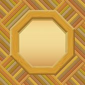 stock photo of octagon  - Wooden Octagon Frame with Empty Paper on a Wall - JPG