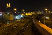 pic of bavaria  - The train station of Schwandorf in Bavaria at night - JPG