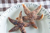 stock photo of edible  - Boiled edible starfish on the plate on a table - JPG