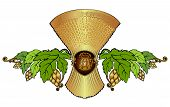 picture of hop-plant  - Beer Background Label with Hop Grain and sheaf - JPG