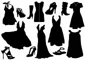 Illustration of some black dresses with shoes
