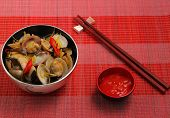 pic of clam  - herbal clam soup Vietnam style served on a place mat - JPG