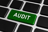 stock photo of financial audit  - audit green button on keyboard business concept - JPG