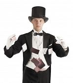 picture of juggling  - magician holding playing cards - JPG