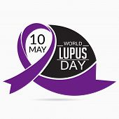 stock photo of lupus  - illustration of stylish purple ribbon for World Lupus Day in white bcakground - JPG