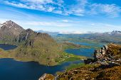 picture of fjord  - Panorama of scenic fjord on Lofoten islands with towering mountain peaks - JPG