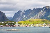 picture of fjord  - Scenic town of Reine by the fjord on Lofoten islands in Norway on sunny summer day - JPG