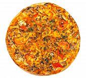 stock photo of hot fresh pizza  - hot fresh pizza isolated on white background - JPG