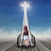 foto of gates heaven  - Back view of female teenager with casual style clothes climbing a stair to the heaven - JPG