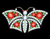 picture of brooch  - Gold brooch butterfly with diamonds - JPG