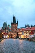 picture of old bridge  - The Old Town with Charles bridge in Prague early in the morning - JPG