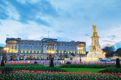stock photo of palace  - Buckingham palace in London Great Britain at sunset - JPG