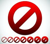 picture of no entry  - Red prohibition restriction  - JPG