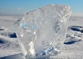 picture of crystal clear  - Crystal clear ice at sunny day at frozen sea - JPG