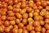 stock photo of stall  - pile of organic tangerines at market stall - JPG