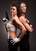 image of girls guns  - Group of sexy woman like riot woman - JPG
