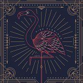 stock photo of flamingo  - Vintage thin line flamingo label - JPG