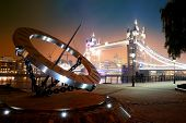 foto of sundial  - Sundial and Tower Bridge at waterfront in London - JPG