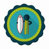 foto of hydroplanes  - Surfing Flat Icon With Long Shadow - JPG