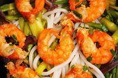 image of rice noodles  - Vietnamese shrimp and rice noodles soup pho close up - JPG