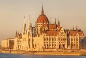 image of hungarian  - View of hungarian Parliament building at twilight in Budapest - JPG