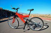 foto of suspension  - Modern Red Full Suspension Mountain Bike MTB Bicycle - JPG