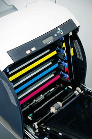 picture of cartridge  - Color laser printer toners cartridges top view - JPG