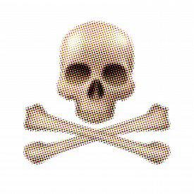 foto of skull crossbones  - Skull and crossbones halftone on white background - JPG