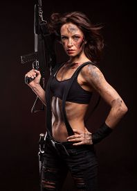 image of sniper  - Sniper woman in leather sexy wear - JPG