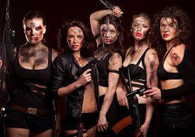 pic of girls guns  - Group of sexy woman like riot woman - JPG