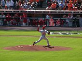 Philles Cole Hamels Steps Forward To Throw Pitch From Mound