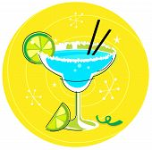 Blue Margarita: Retro cocktail icon on yellow background