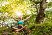 Woman relaxing in beautiful nature. poster