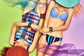 Beauty woman body in fashion swimsuit, lesbians,  beach look poster