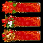 Christmas and New Year horizontal banners.