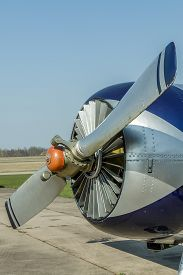 stock photo of ultralight  - Airports small sport airplane preparing to flight - JPG
