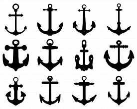 foto of anchor  - Set of anchor symbols or logo template vector - JPG