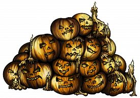 foto of horror  - Illustration the pile of horror halloween pumpkins with burning candles - JPG
