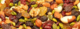image of brazil nut  - Mixed fruit and nut background with hazel and brazil nuts - JPG